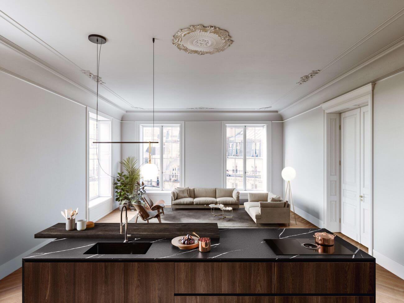 Obývačka s kuchyňou - Vyskúšajte spojiť obývačku s kuchyňou.