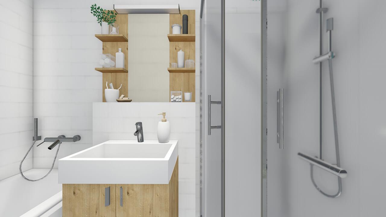 Kúpeľňová zostava Skrinka pod umývadlo, drevodekor - projekt Grand koliba