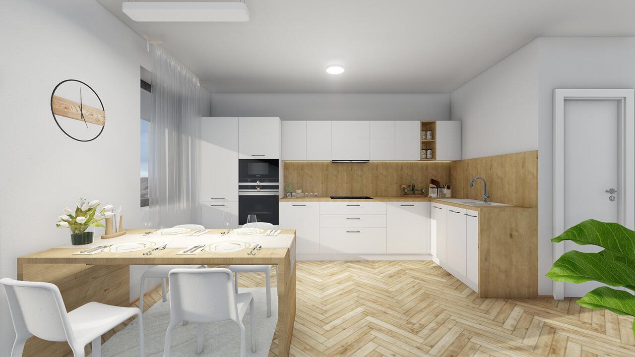 Kuchynská linka Laminátové prevedenie v bielej, matnej, hladkej farbe - projekt Grand koliba