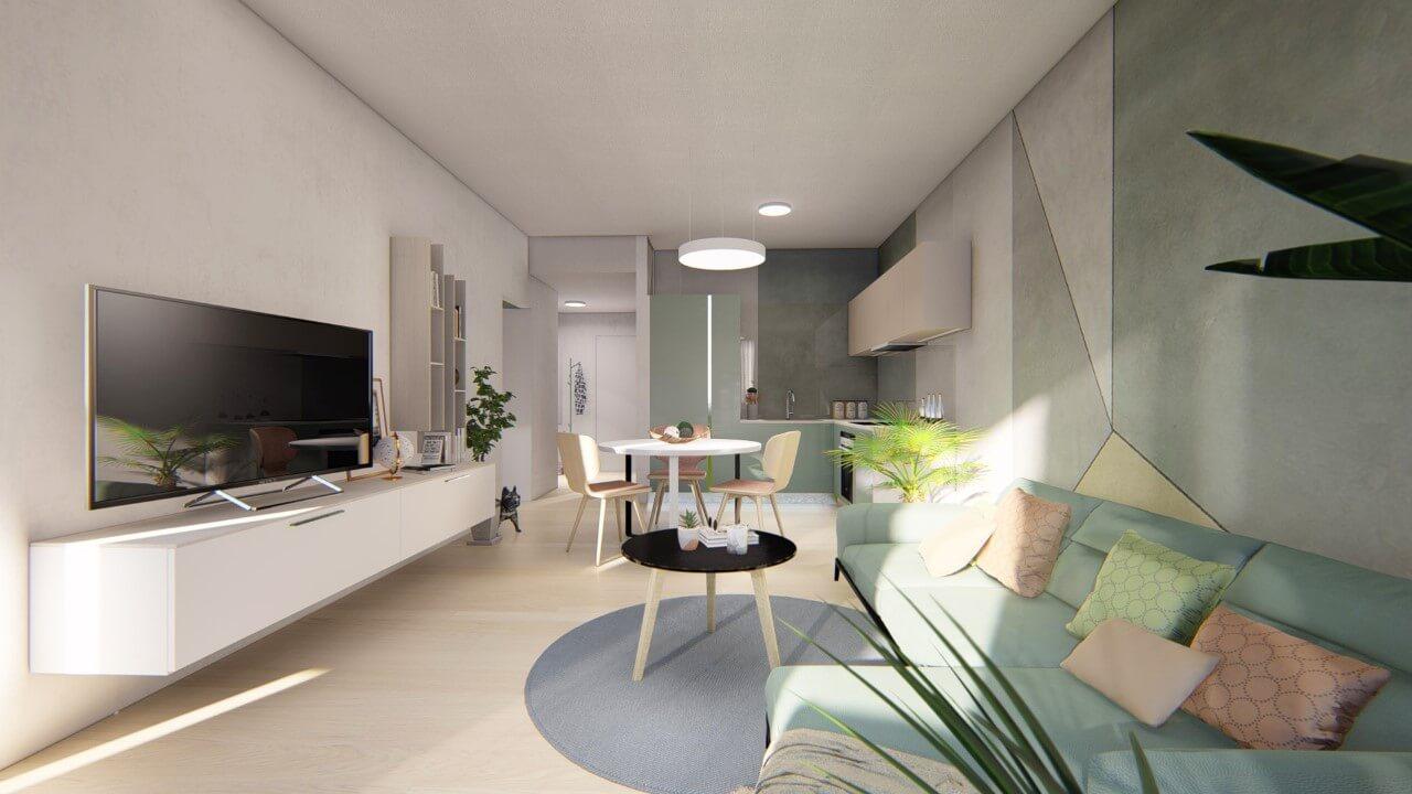 kuchyňa a presieň - dvojizbový väčší byt premium