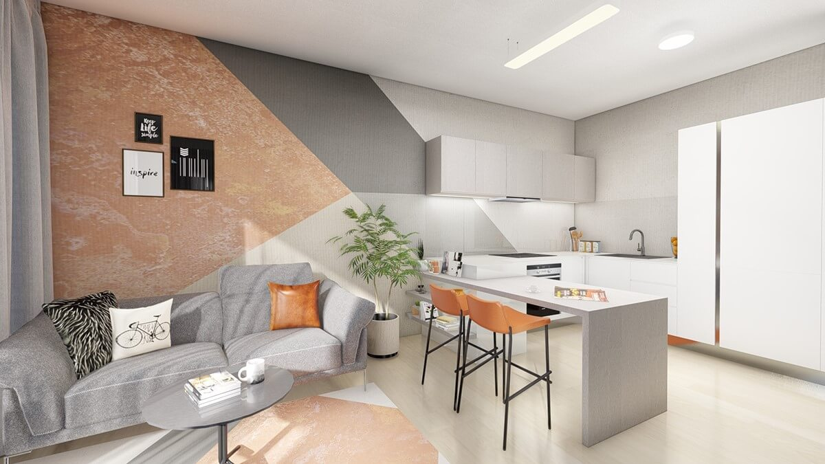 obývačka - dvoj izbový menší byt premium