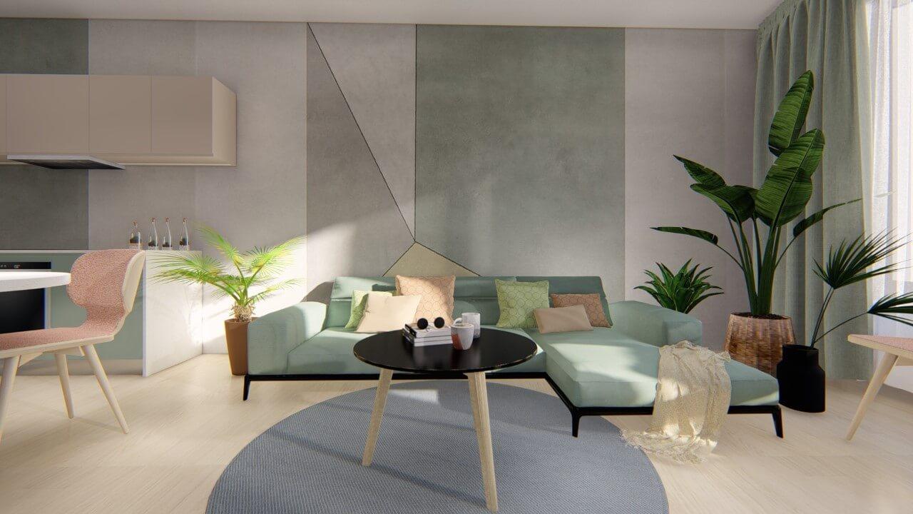 obývačka - dvojizbový väčší byt premium