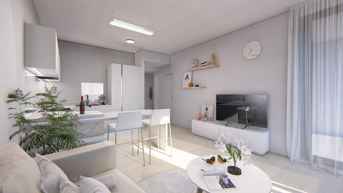 obývačka - dvojizbový menší byt economy