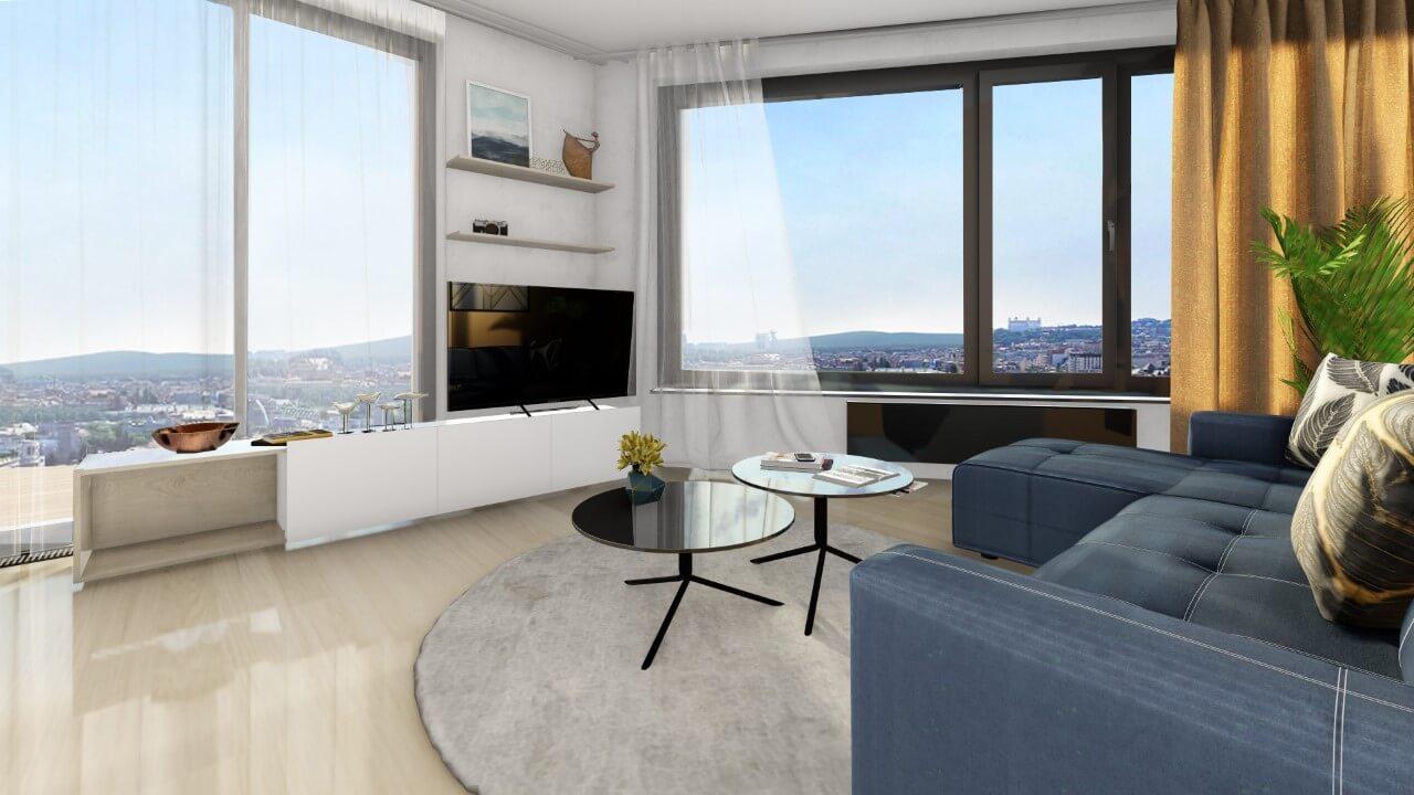 obývačka trojizbový menší byt premium