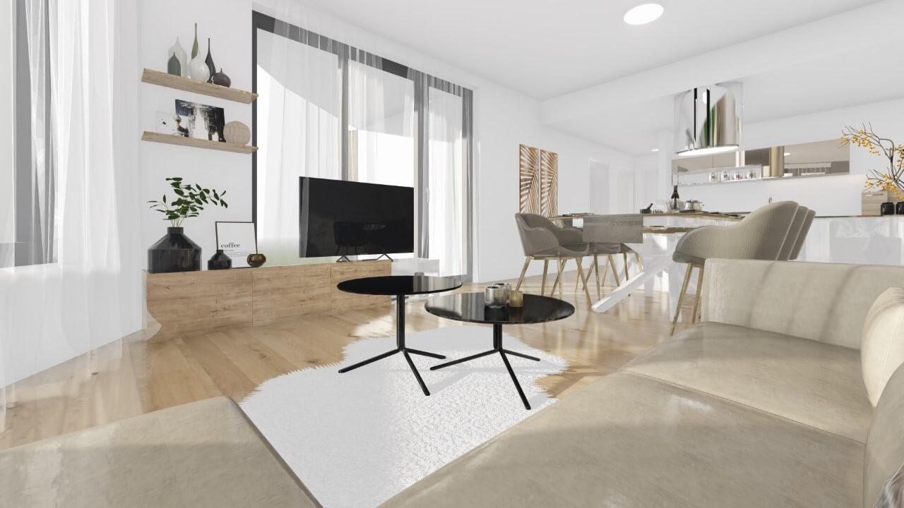 obývačka - štvorizbový byt premium