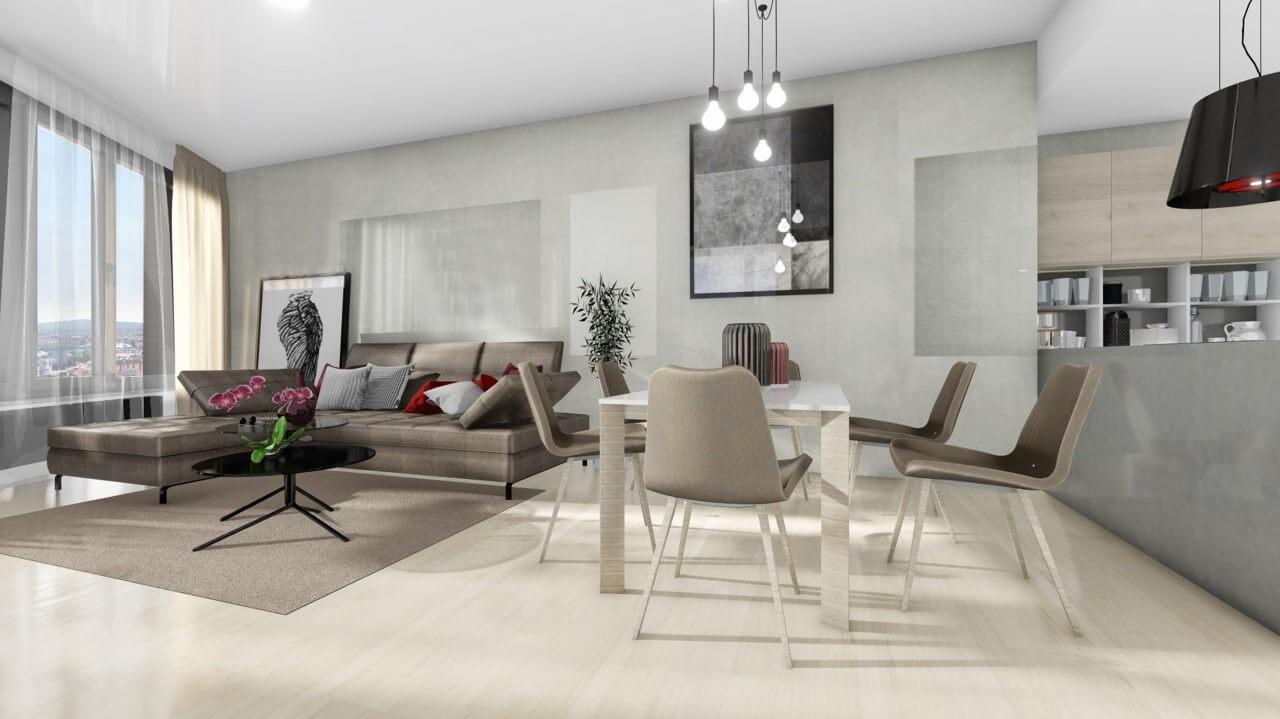 obývačka - trojizbový byt premium