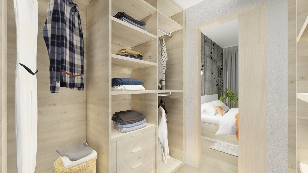šatník - dvoj izbový menší byt premium