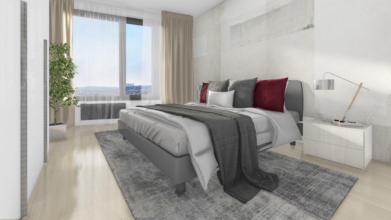 spálňa - trojizbový byt premium