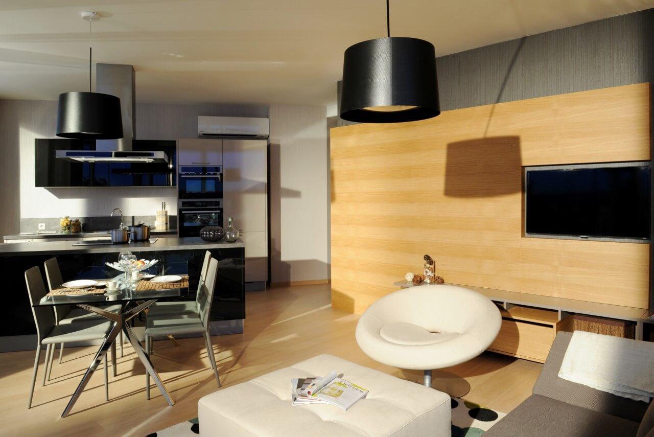 Panorama City - vzorový byť č.3 - kuchyňa a obývacia izba