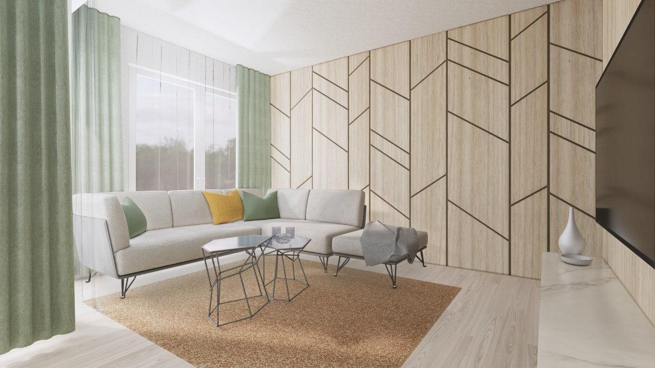 Viladomy Slávičie - vizualizácia - obývacia izba