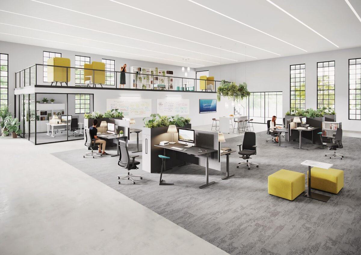 Moderná kancelária v roku 2021: vzdušnosť, použiteľnosť a rastliny